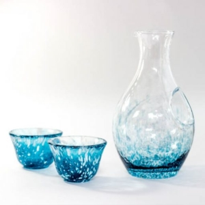 Glass Sake Set Ice Pocket Blue