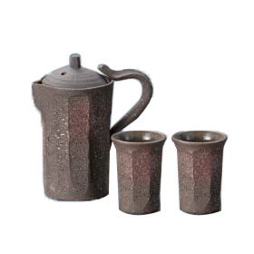 Brown Pottery Cold Sake Set