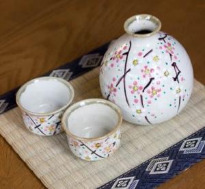 Kutani Ware Sake Set Plum