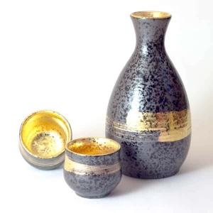 Mino Ware Sake Set Gold Brushstrokes