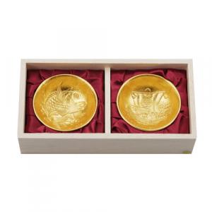 Nousaku Tin Sake Cup Sakazuki Set Gold